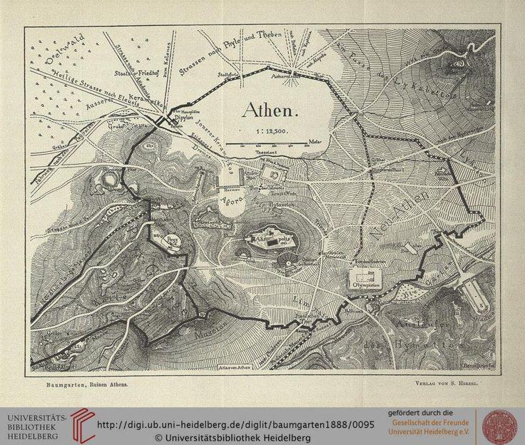 Χάρτης Αθηνών 1888 *** Baumgarten, Fritz Ein Rundgang durch die Ruinen Athens…