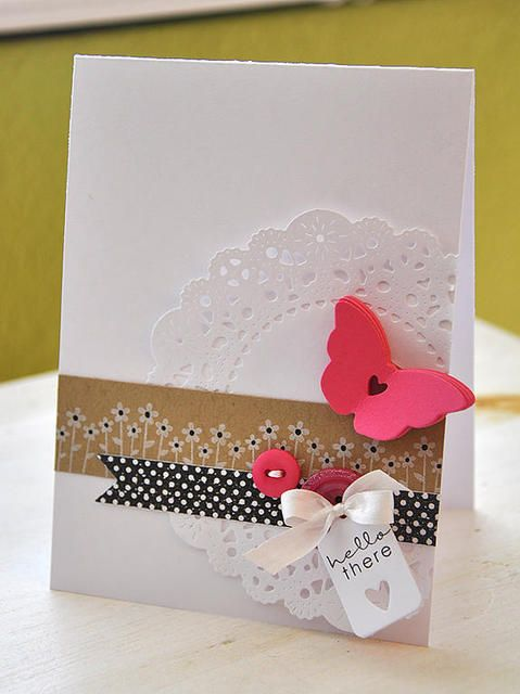 doily, ribbons, buttons, punched out shape