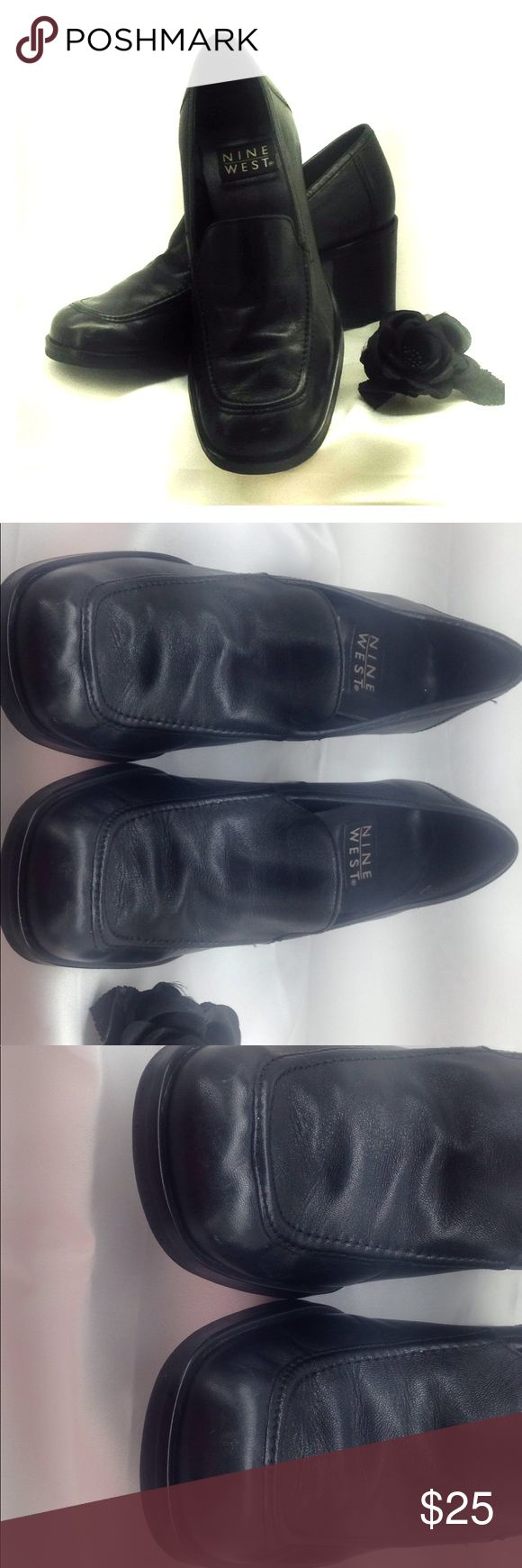 Nine West black leather loafer shoes. Gently worn. Good shape and very comfortable. Has been stored in plastic shoe box! Nine West Shoes Flats & Loafers