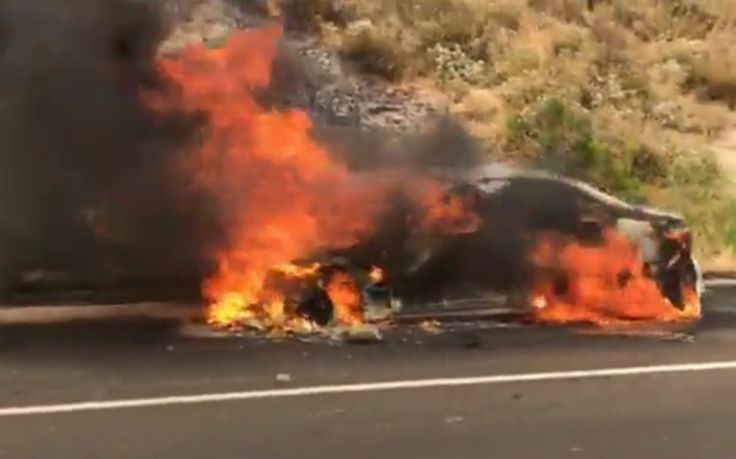 A car fire on northbound Highway 101 near the Cuesta Grade summit on July 7, 2017, caused multiple lane closures in the North County.
