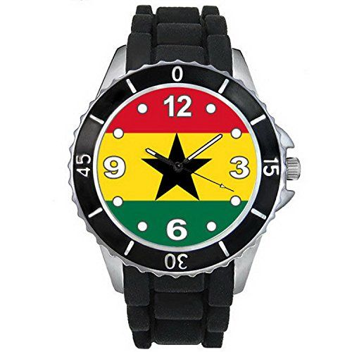 BMSC042 Ghana Country Flag Mens Ladies Black Jelly Silicone Quartz Wrist Watch *** Find out more at the image link.