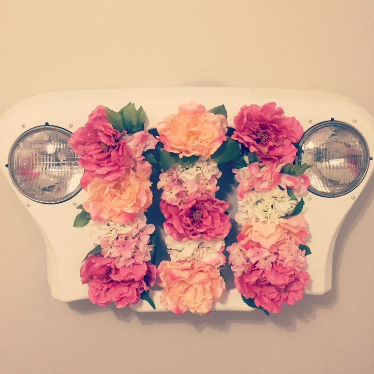 Jeep grill baby girl nursery floral arrangement