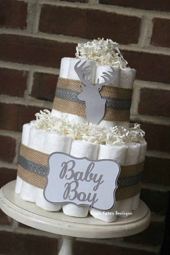 2 Tier Deer Head Diaper Cake Burlap Gender by BabeeCakesBoutique