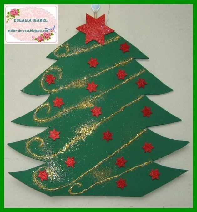 Rbol de navidad en foami para pared adornos navidad diy - Arbol de navidad de pared ...