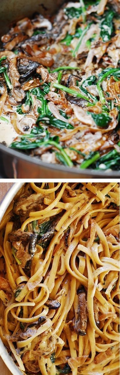 Creamy mushroom pasta with caramelized onions and spinach - an Italian comfort…