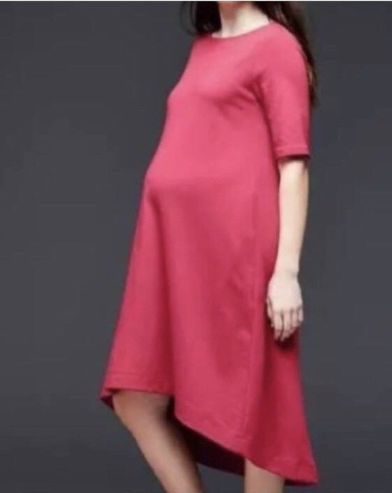 e414e15ece917 Gap Maternity Womens XS Red Short Sleeve High Low Stretch Jersey Dress #Gap  #ShirtDress #Casual