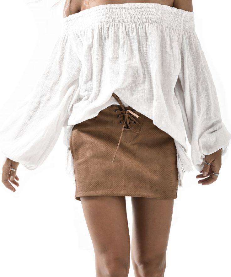 One Teaspoon - Drifter Vegan Leather Skirt Tan