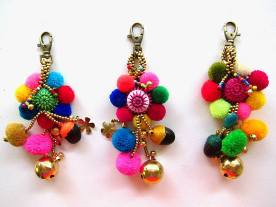 Luxury Flower Keychain Tribal Embroidered Circle Colorful Pom Poms Complete with Brass Beads, Charms and Genuine Colored Stones  These are our new