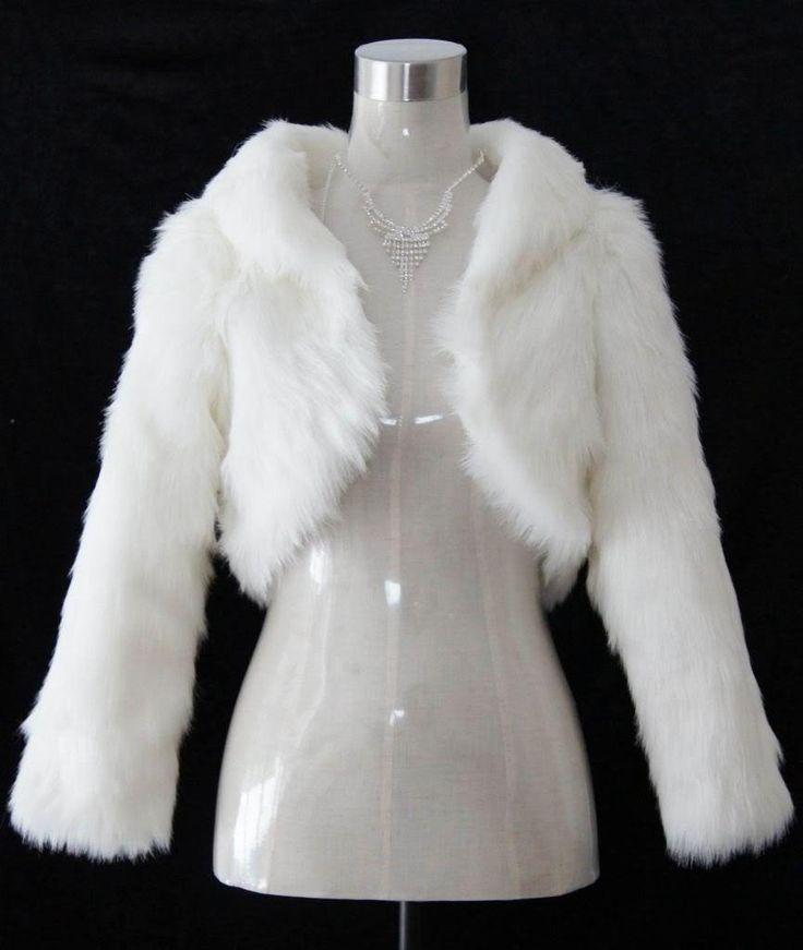 New Ivory/White Faux Fur Wrap Shrug Bolero Coat Bridal Shawl Accessories
