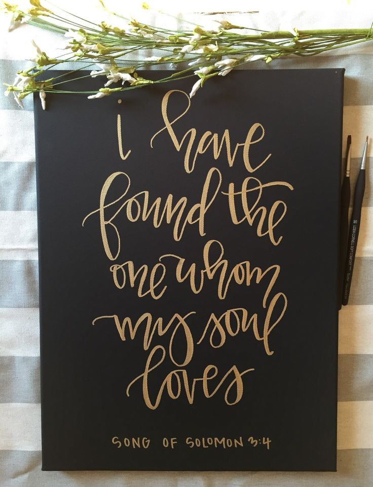 Black canvas with gold acrylic paint hand lettered Also available to be made on a white canvas with any color paint! Dimensions: 11x14  Such a sweet canvas to hang in your home or use at your wedding! Perfect for newlyweds and even not-so newlyweds to display their love! *the canvas in the picture has sold, however the one you will receive will look extremely similar!*  Custom orders upon request!  Follow me on Instagram for more hand lettered fun & where I offer more discounts! @apletters
