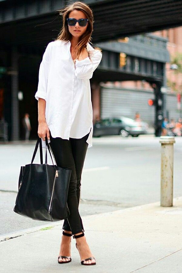 Fashion: beautiful and simple street style! Black leather pants + white… -  Luxe Fashion New Trends