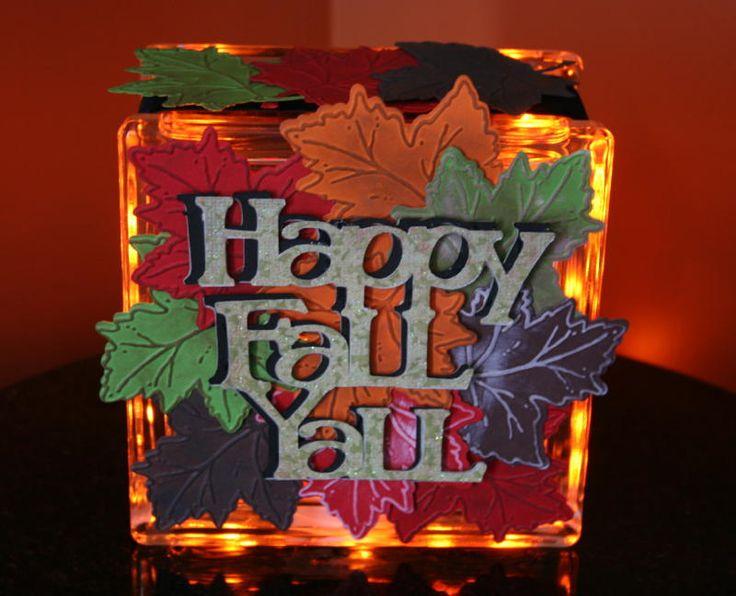 Cricut & Cuttlebug Happy Fall Y'all Glass Block