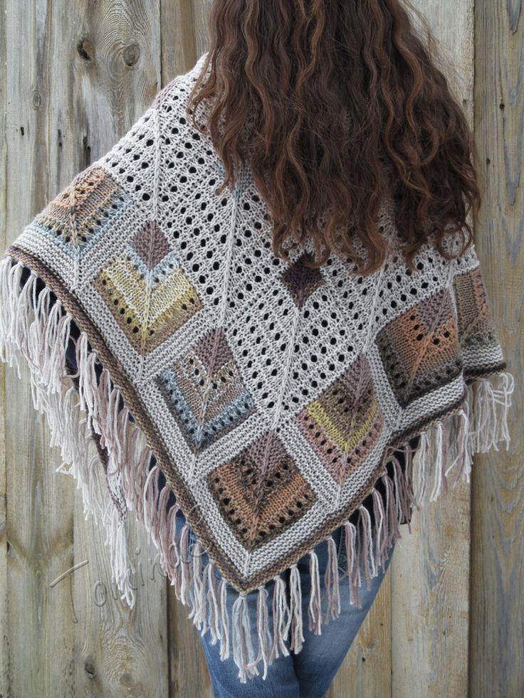 "Knit shawl ""Castles on sand"" (knitted shawl, wool shawl, modular knitting, knit patchwork, stained-glass shawl, hand knit shawl)"