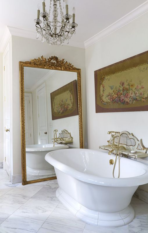 Curved Golden Framed Wall Large Mirror For Bathroom Matching With The Whole Room Style