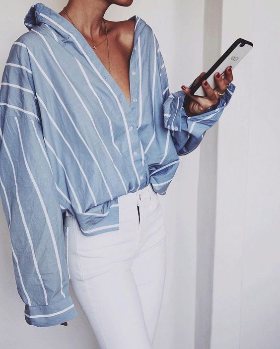 Captivating stripe shirt over white pant for a chic look! Ideal for evening part…
