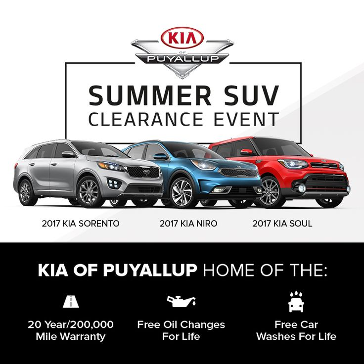 Come visit us at Kia of Puyallup and save with our Summer SUV Clearance Event! Receive up to 125% of KBB Fair Value for your trade in. Other perks include up to $4000 customer cash or be able to lease for $229 a month for 36 months. What a deal!  #mondaymotivation #kia #kiaofpuyallup #kiamotors #suv #clearance