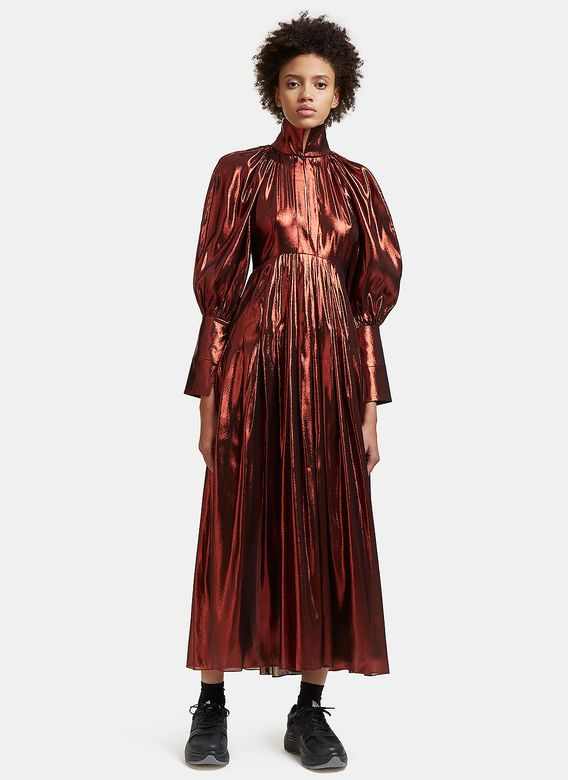 Ellery Contained Long Metallic Pleated Dress | LN-CC