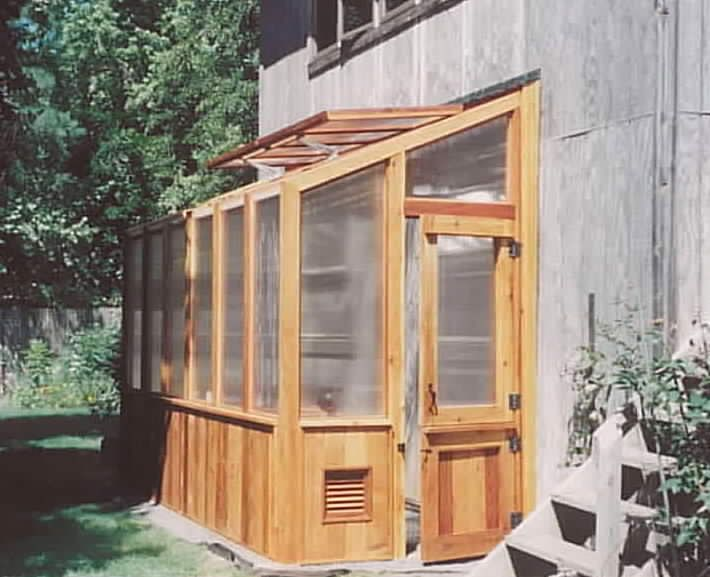 Lean-To Greenhouse. I love the dutch door and roof vents.