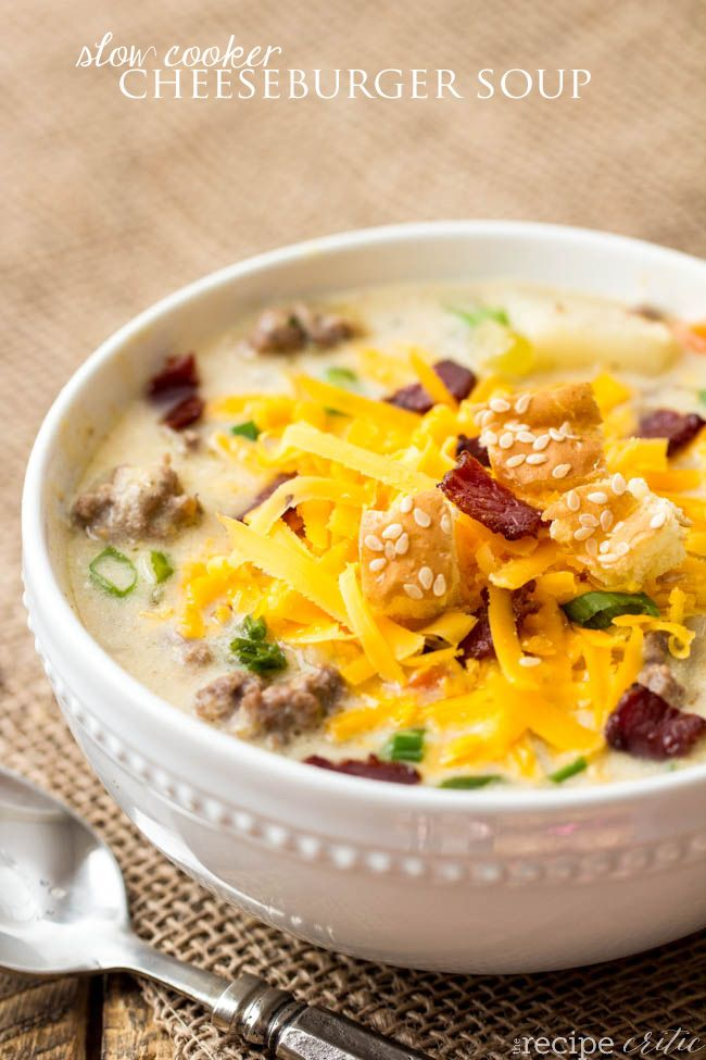 It was so nice to just throw all of the veggies and potatoes in this soup right in the slow cooker. Have a delicious hearty cheeseburger soup for dinner.