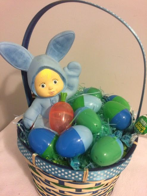 3527 best all ebay items images on pinterest wine gifts 30 ebay hello blue cutey baby easter bunny gift basket handmade negle Images