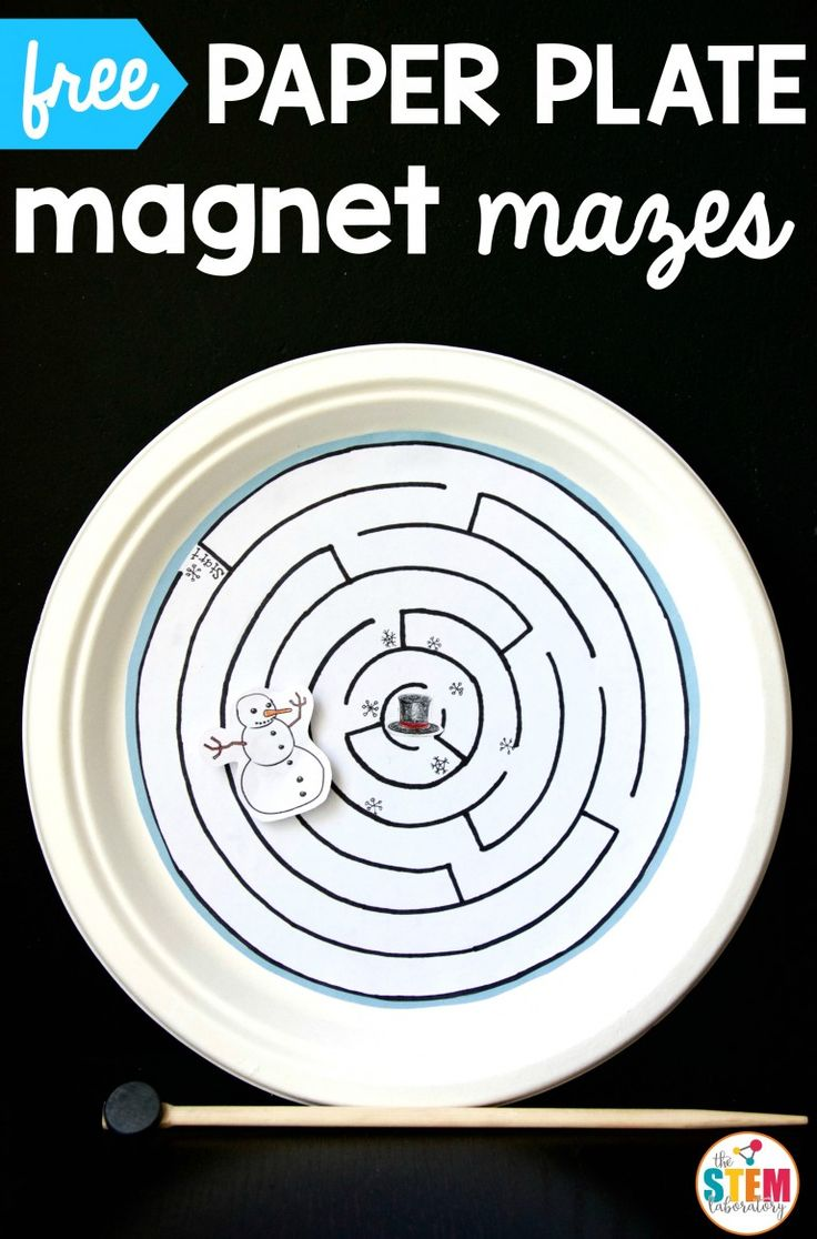 Free magnetic paper plate mazes for winter! Cool STEM activity or science project for kids.