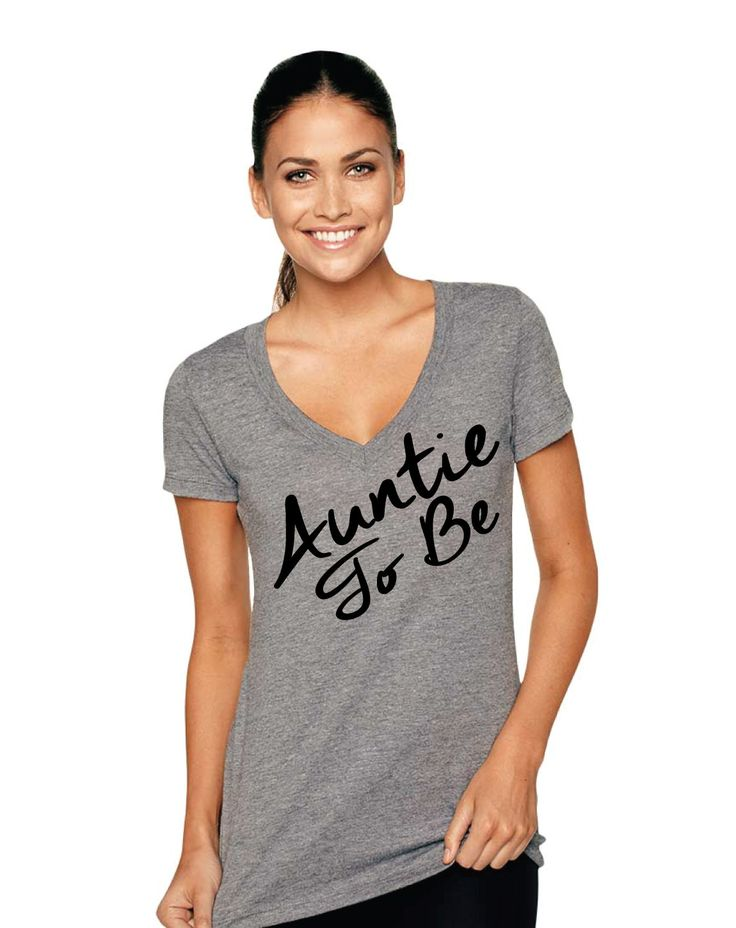 Auntie To Be Tri-Blend Deep V-Neck shirt , Best Auntie Ever, Best Auntie Shirt, Auntie shirt, Aunt shirt, Proud Aunt, New Aunt, Auntie