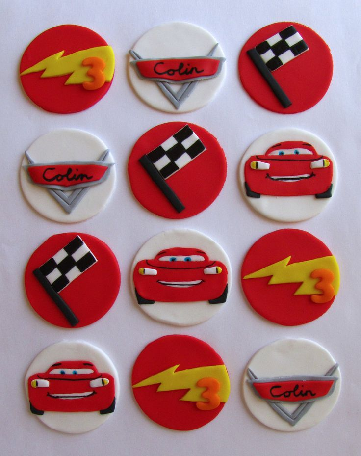 Fondant Cupcake Toppers - Cars Inspired.