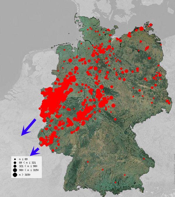 Les observations de grues cendrées en Allemagne les 8 et 9 novembre, montrent les 2 couloirs migratoires empruntés par les grues. Celui débouchant sur la Belgique est particulièrement remarquable (sources: champagne-ardenne.lpo.fr  et ornitho.de).