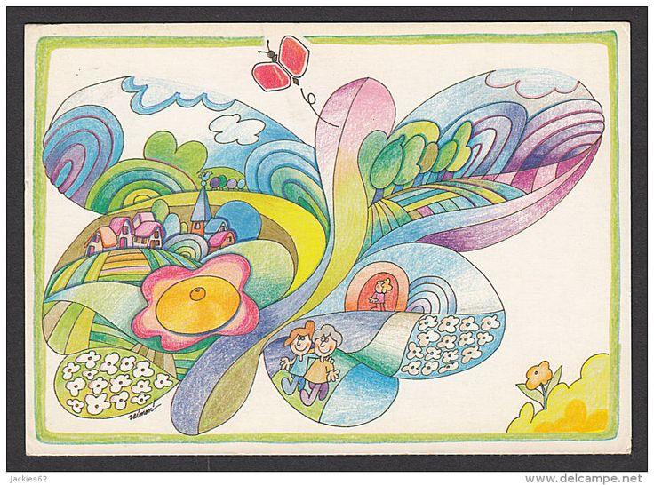 30867/ R. HEROUFOSSE, *Papillon de l'Espoir*, Pour la Fonfation Raoul FOLLEREAU, 2 scans