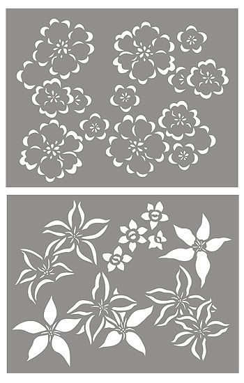 Japanese Flowers Stencil. Buttercups and Clematis Stencil.