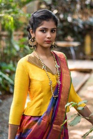 8f6edc0e51c2ed Yellow raw silk jacket blouse with gold brocade collar  blouse  choli   jacketblouse  houseofblouse