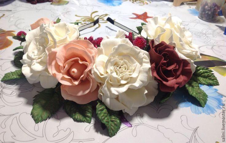 """Купить Венок из фоамирана""""Розы"""" - белый, венок из цветов, ободок с цветами, ободок для волос, ободок для девочки"""