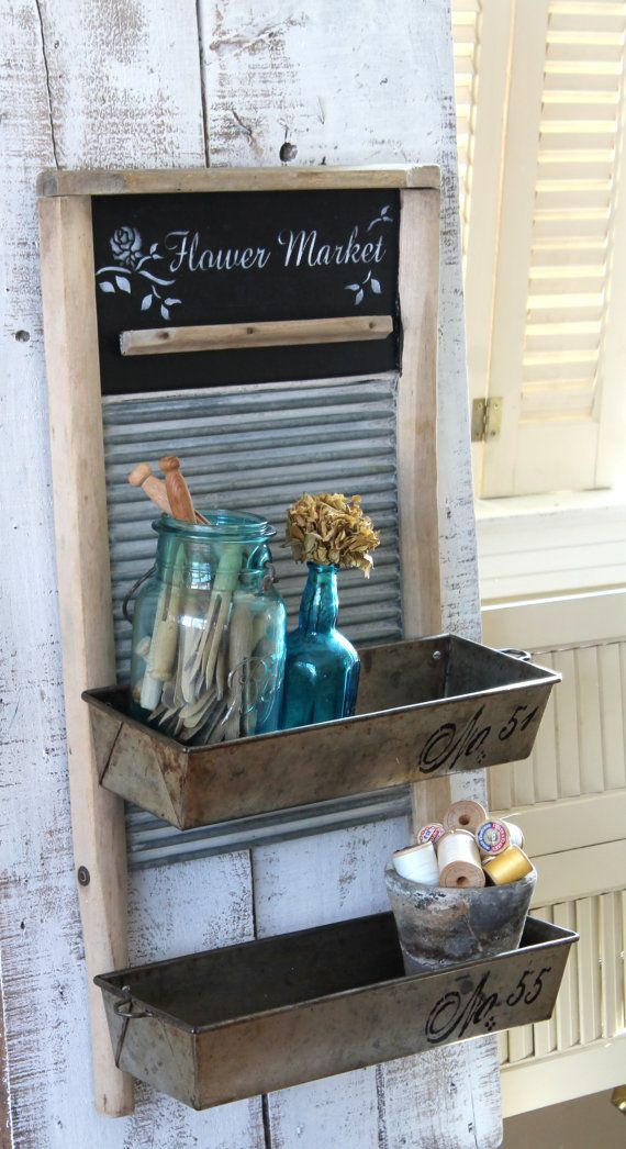 VINTAGE Wash Board With Bins Organizer Rustic by TheVintageStories