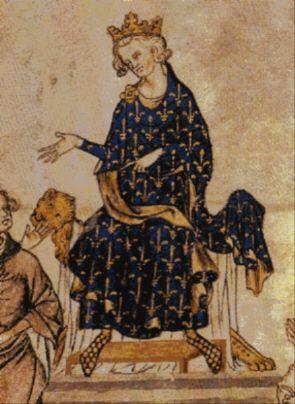 Philippe VI de Valois(détail de la miniature Le procès de Robert d'Artois, vers 1336, Paris, BnF, ms. français 18437, fo2)