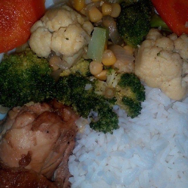 buttered veggies w/ chix adobo