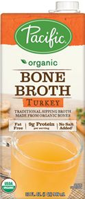 Bone broth contains a few more calories but, is a lot better for you.  This brand per cup contains 35 calories, 0 carbs, a whoppiing 9 grams protein and only 95 grams sodium.  Compare this to regular broth (Campbell's Organic per cup contains 10 calories but, 1 g carb, only 1 g protein and a whopping 380 g sodium).