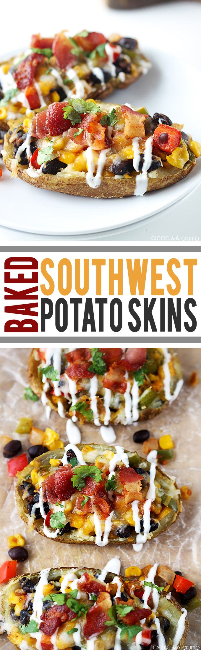Crispy baked potato skins loaded with these, black beans, corn, bacon, cilantro and topped with sour cream!