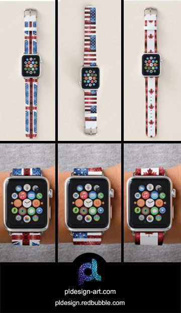 Sparkly UK, USA and Canada flags Apple Watch Bands by #PLdesign #sparkles #accessories #fashion #style