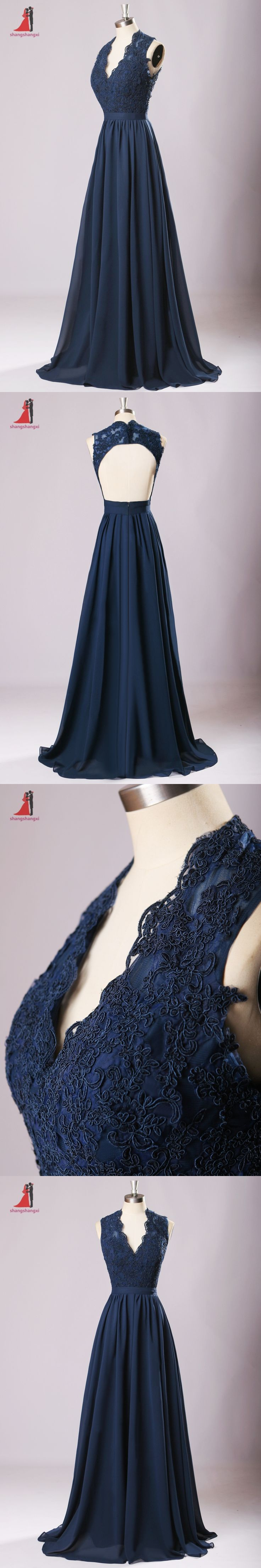 2017 Navy Blue Long Bridesmaid Dresses V-neck Lace Appliques Chiffon Backless Dress for Wedding Party Prom vestido de noche