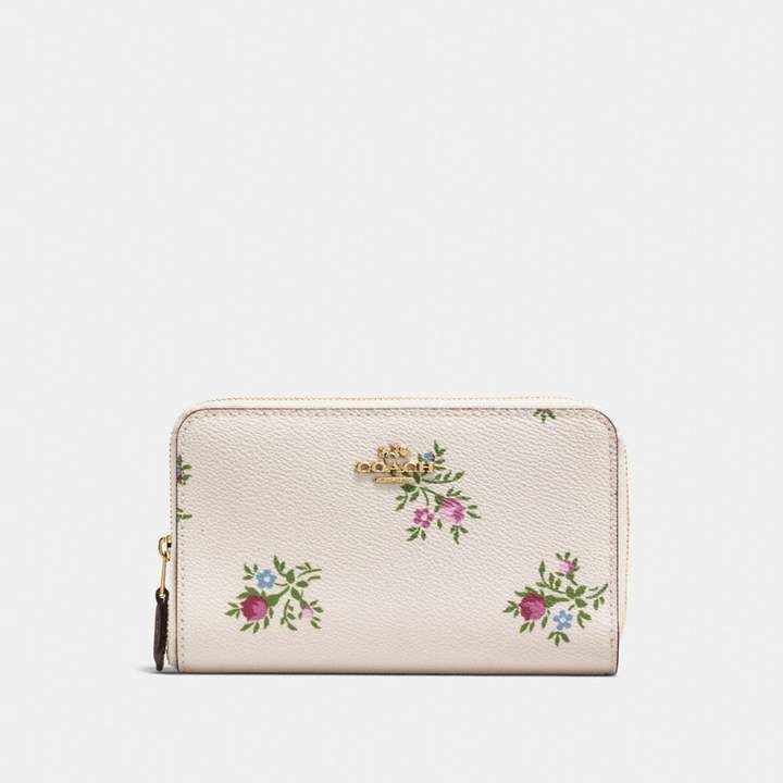 Medium Zip Around Wallet With Cross Stitch Floral Print Zip