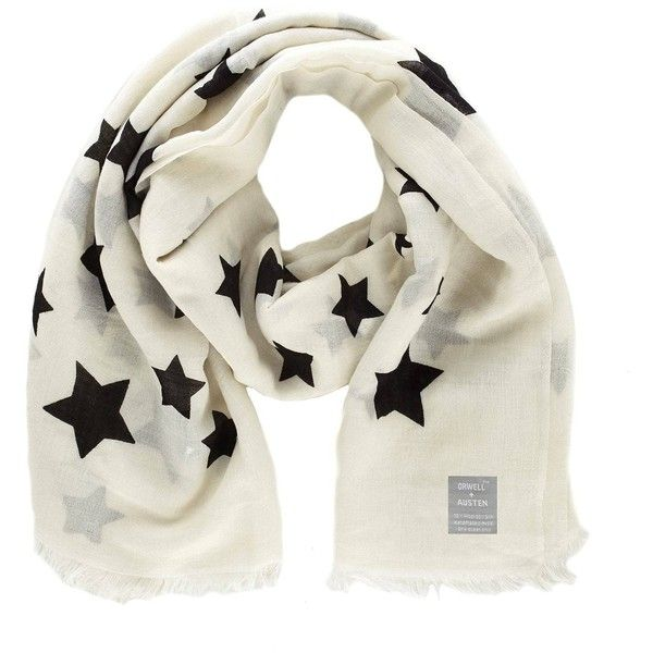 Orwell + Austen Cashmere - Oversized Black & White Star Scarf (705 CNY) ❤ liked on Polyvore featuring accessories, scarves, black and white shawl, star scarves, black and white scarves, oversized scarves and wrap shawl