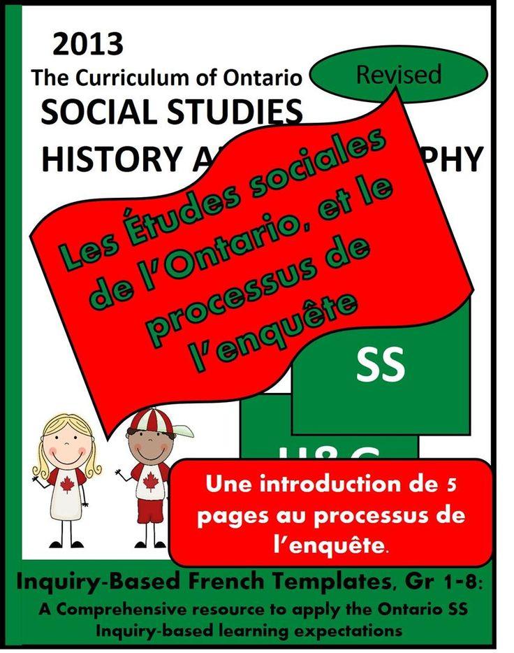 Voilà 5 organigrammes gratuits de la Ressource: Les Études sociales de l'Ontario et le processus de l'enquête, 1ère à 8ème année.  S.S. INQUIRY-BASED LEARNING en français!  FREE!