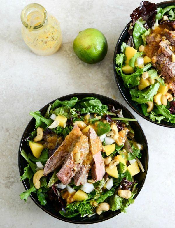 Thai Steak Salad with Roasted Chili Mango Vinaigrette | How Sweet It Is