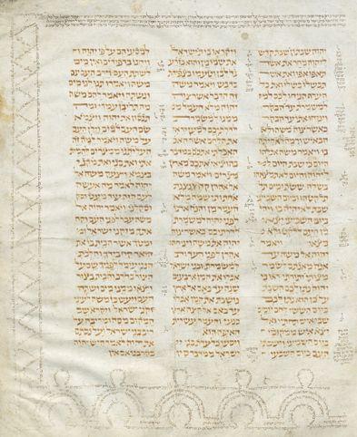 Mit Kommentaren (Masora) versehene hebräische Bibelhandschrift (10./11. Jahrhundert), Staatsbibliothek Berlin. Foto: Staatsbibliothek Berlin