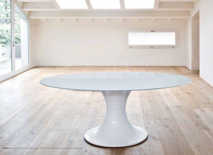 Mod london tavolo ovale con basamento centrale in - Tavolo policarbonato ...