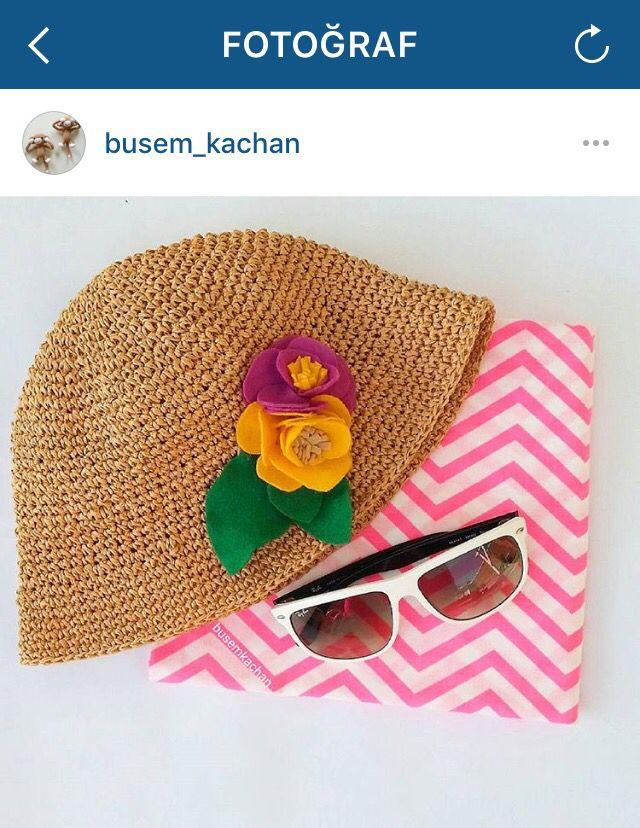 Kağıt ipten yazlık şapka Crochet summer hat