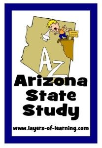 Arizona state study for kids including a printable map.