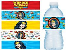 Wonder Woman Birthday Party Water Bottle Labels Water Resistant - Vinyl Stickers BOLD colors by BeanTownParties on Etsy https://www.etsy.com/listing/234990149/wonder-woman-birthday-party-water-bottle