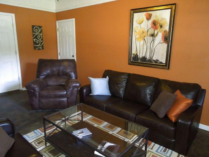 burnt orange and brown living room  layjao  brown living