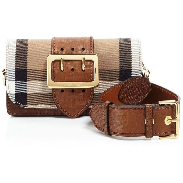 Burberry Madison House Check Embossed Bridle Belt Crossbody ($1,250) ❤ liked on…